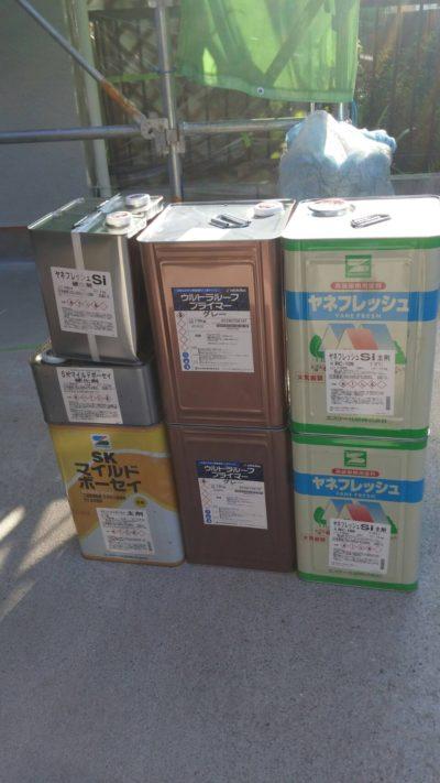 藤沢市K様邸で屋根塗装に使う塗料の写真