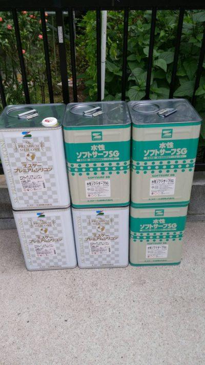 藤沢市K様邸でサンルームの外壁を塗装する時に使った塗料の写真