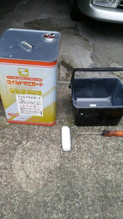 藤沢市メゾンタイプのトタン破風を塗り替える塗料の写真
