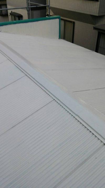 藤沢市メゾンタイプで追加工事のトタン屋根を塗り替えた後の写真