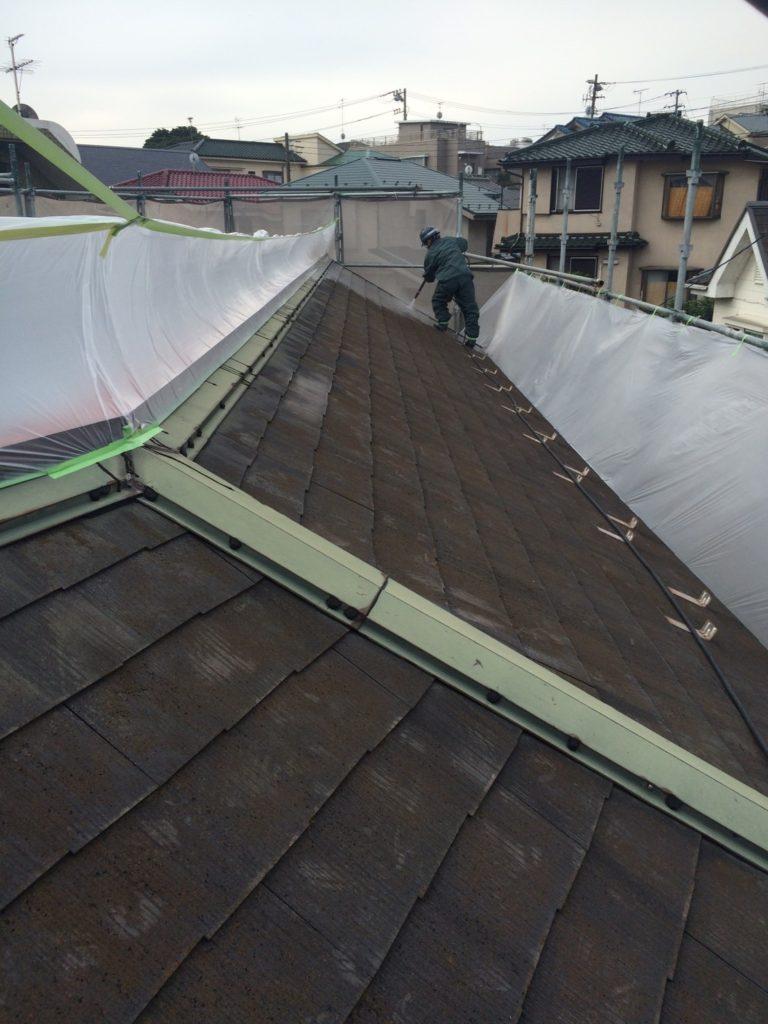横浜市 屋根 外壁高圧洗浄作業