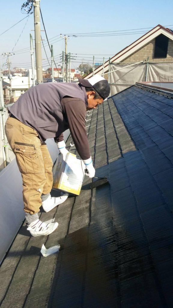 横浜市 屋根 棟の錆止めと下塗り